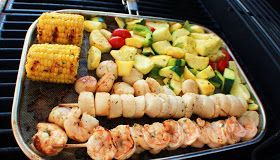 Scallop, Shrimp And Vegetable Kebabs Recipe — Dishmaps