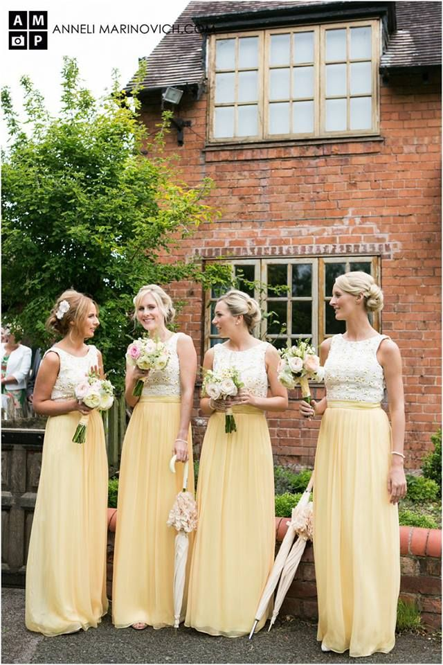 bridesmaids in yellow and white dresses