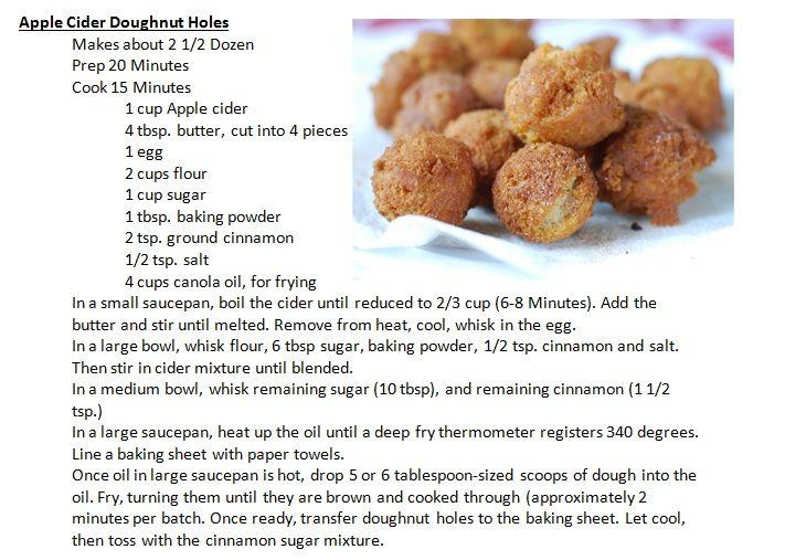 Apple Cider Doughnut Holes (Rachael Ray Mag) !! thin dough with 1/2 ...