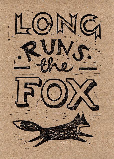 fox proverb lino cut