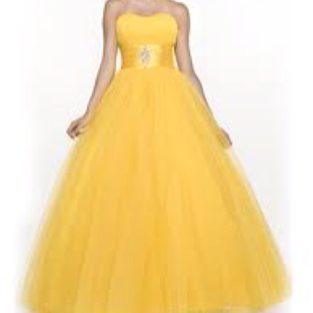 Yellow Poofy Prom Dresses 46