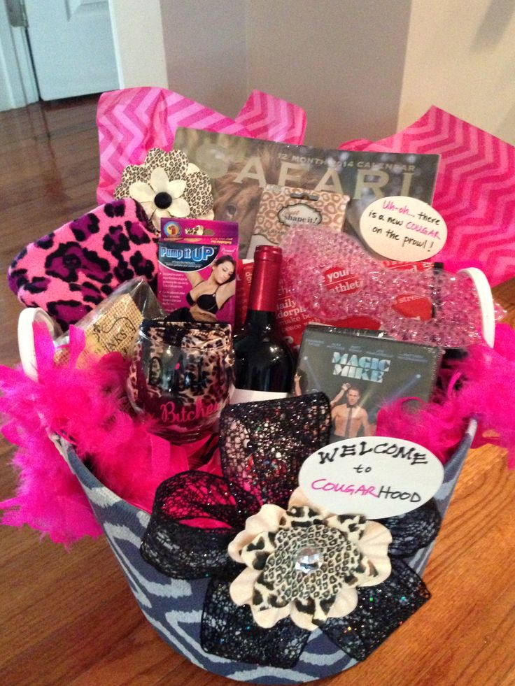Gift idea for a friend's 40th birthday party- Cougar Basket. A ...