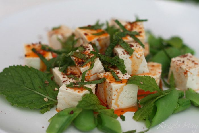 Snap Pea Salad with Chilled Spicy Tofu #recipe #spicytofusalad #mint ...