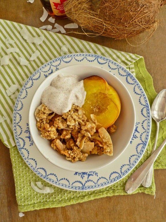 Coconut Granola with Roasted Peaches and Cinnamon Yogurt | Recipe