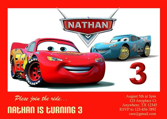 Disney Cars Birthday Party Diy Image Inspiration of Cake and – Personalized Disney Birthday Invitations