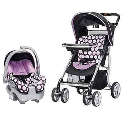 baby infant travel system polka dot purple bonus base stroller car se. Black Bedroom Furniture Sets. Home Design Ideas