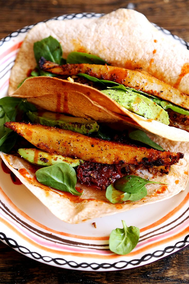 Crispy Potato, Onion and Avocado Tacos made from Whole Wheat Tortillas