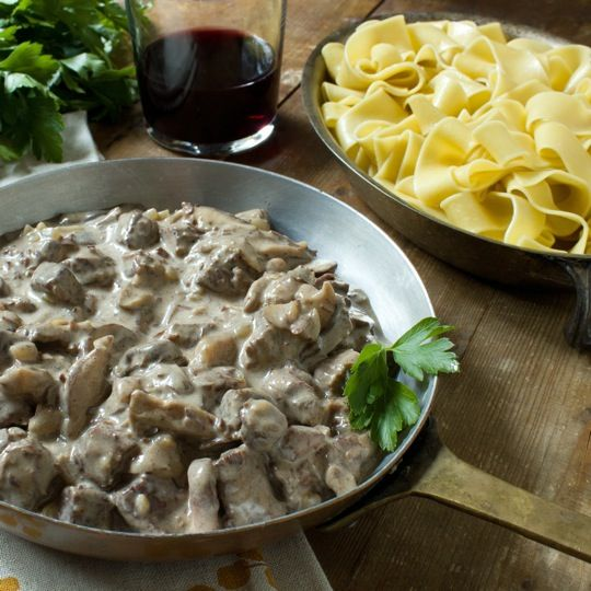 Braised Beef Stroganoff with Pappardelle | Click to get this recipe>>