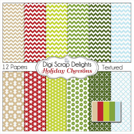 Christmas Chevron Digital Papers Holiday #Red #Green #Blue #Linen #Textured