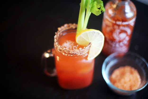 Bloody Mary with Spicy Pepper Vodka and Sriracha Salt | 21 Deliciously ...