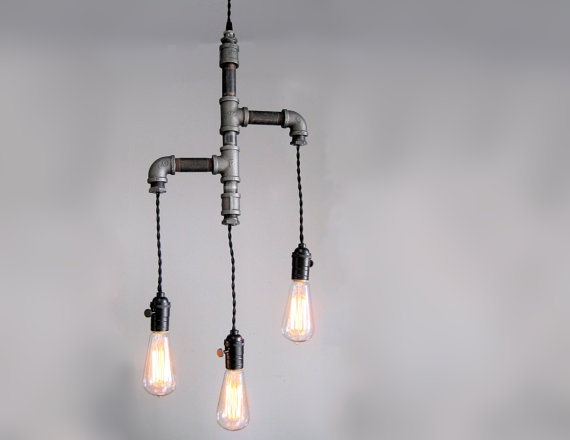 Industrial Custom Rustic Pipe and Cloth Cord Chandelier