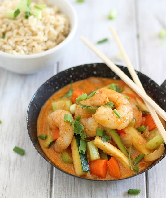 This Coconut Red Curry Shrimp is one creamy and spicy soup