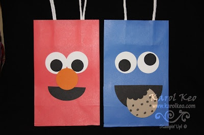 Sesame Street Characters using Stampin' Up punches, visit http://karolkeo.stampinup.net
