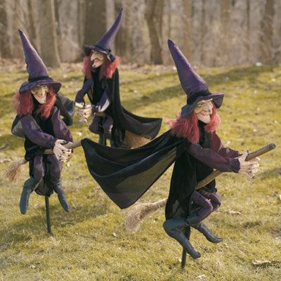 Set of three staked halloween witches holiday decor for 3 witches halloween decoration