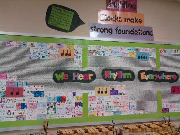 From a pinner: My version of learning about building block rhythms at Level I this summer....instead of a word wall on my big bulletin board, I did a rhythm wall and when we compose, write lyrics, improvise, etc....kids take the words we use and make cards with the word, the rhythm it matches, and of course some fun color.   They love it and our goal is to paper the whole wall by the end of the year!