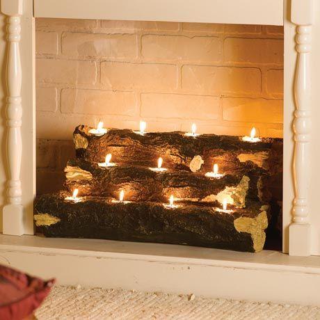 tealight fireplace logs lighten up