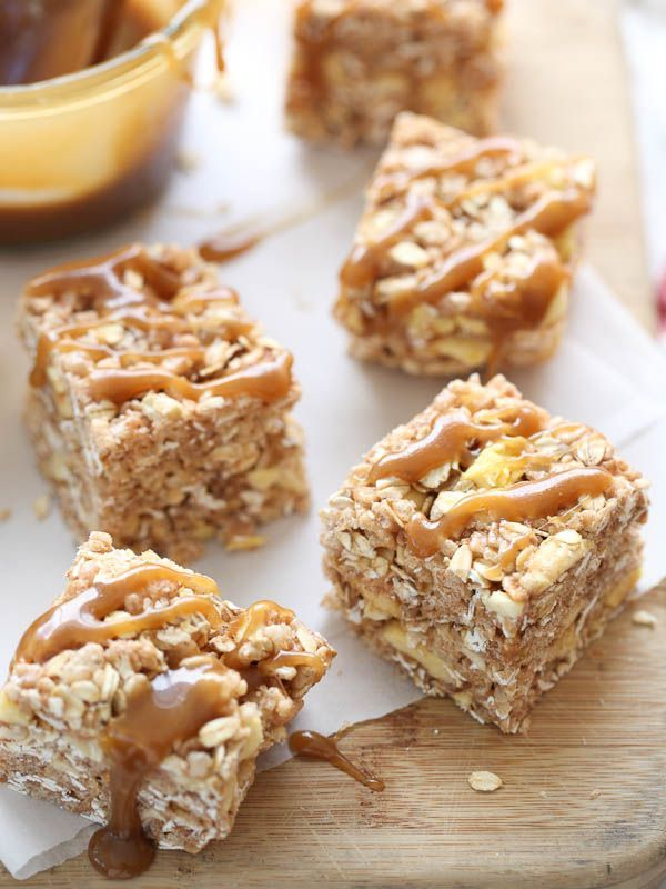 Apple and Oatmeal Rice Krispie Treats drizzled with caramel sauce