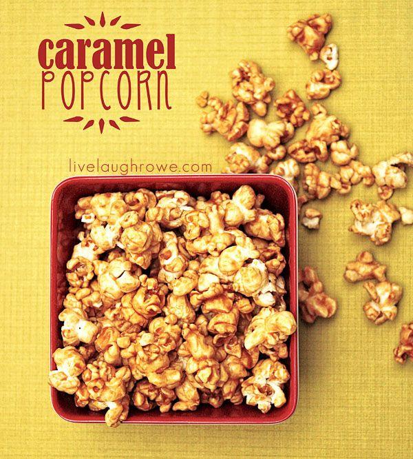 Homemade Caramel Popcorn with livelaughrowe.com #recipe #caramelcorn