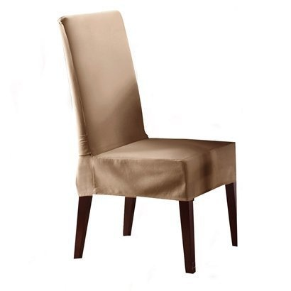 Cocoa cotton duck short dining room chair cover opens in a new window