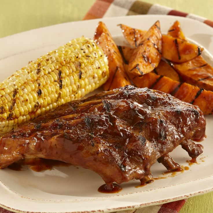 Sweet & Smoky Ribs with Grilled Sweet Potatoes   Recipe
