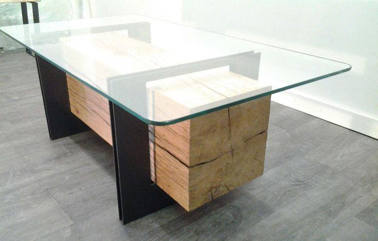 table basse poutre chêne, verre, métal  Mobilier
