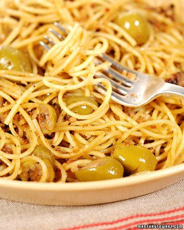 Spaghetti with Green Olive Sauce | Recipe