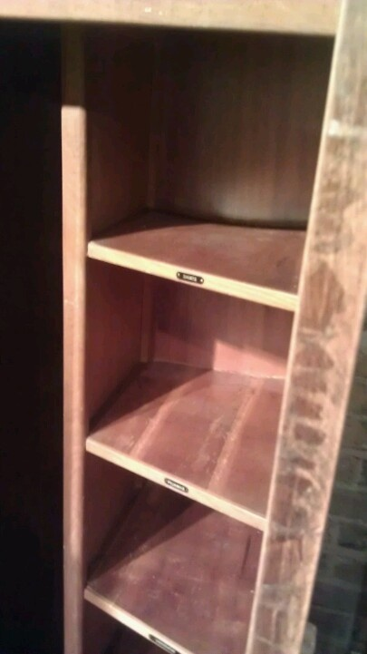 Cute shelves in men's wardrobe - something like this in loft closet?