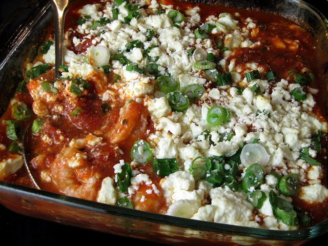 Baked Shrimp with Tomatoes and Feta over Orzo - A Hint of Honey