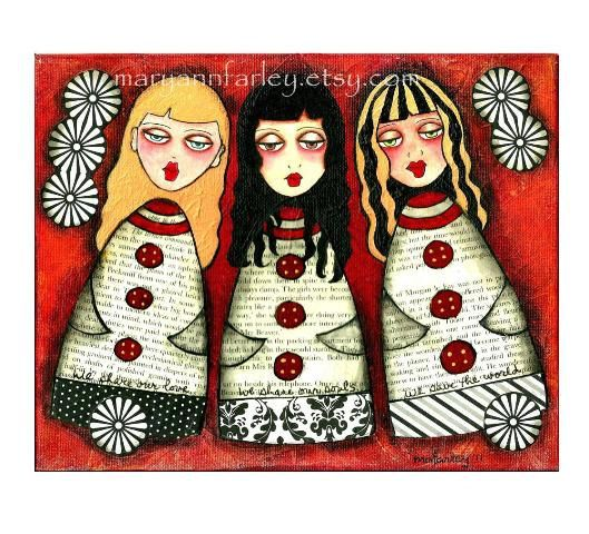 """Three Girls"" Fine Art Giclee Print by Mary Ann Farley"