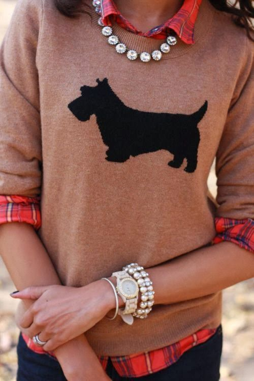 Schnauzer Print Plain Sweater - #fashion #ladies #prep #clothing #scotty #neutrals #womens #winter #pet #dog #terrier #doglover #crewneck