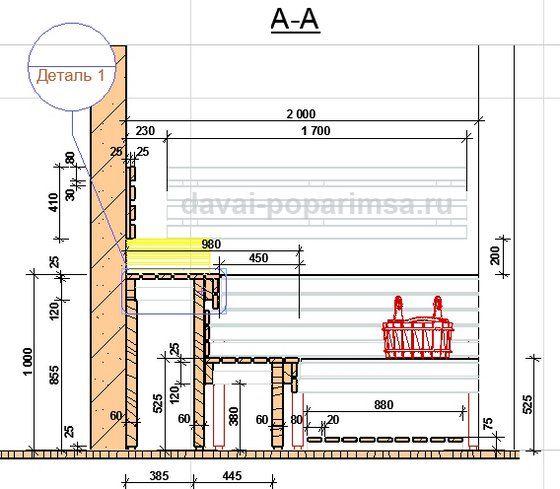Как сделать полок для бани размеры 806