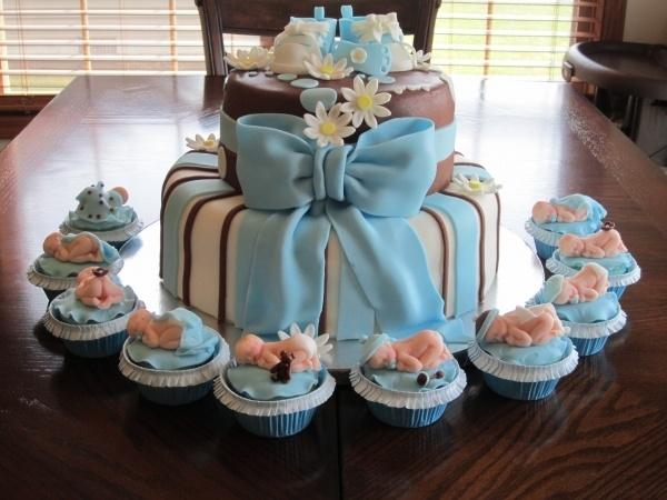 Baby Shower Cupcake Cakes Boy : Boy Baby Shower Cake and Cupcakes cake Pinterest