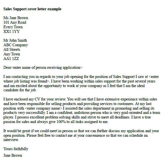 open job application letter sample