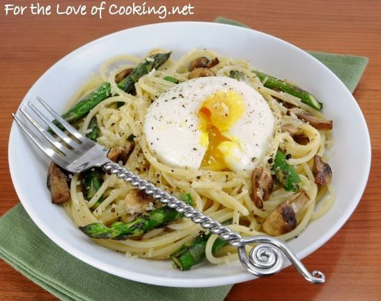 spaghetti with asparagus, mushrooms, parm, and poached egg.