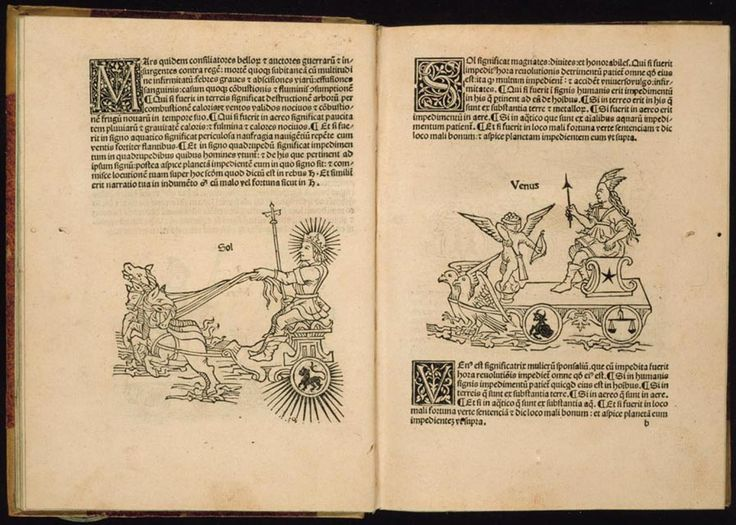 Albumasar was a ninth-century Arab astronomer whose systematic analysis of the heavens resulted in a creation theory based on the alignment of the seven known planets. Albumasar's Flores astrologiae, published by the German printer Erhard Ratdolt, is illustrated with seventy-three woodcuts, including twelve small zodiac cuts, seven larger cuts of the planets, and numerous repeats.    From http://www.loc.gov/exhibits/heavenlycraft/heavenly-15th.html