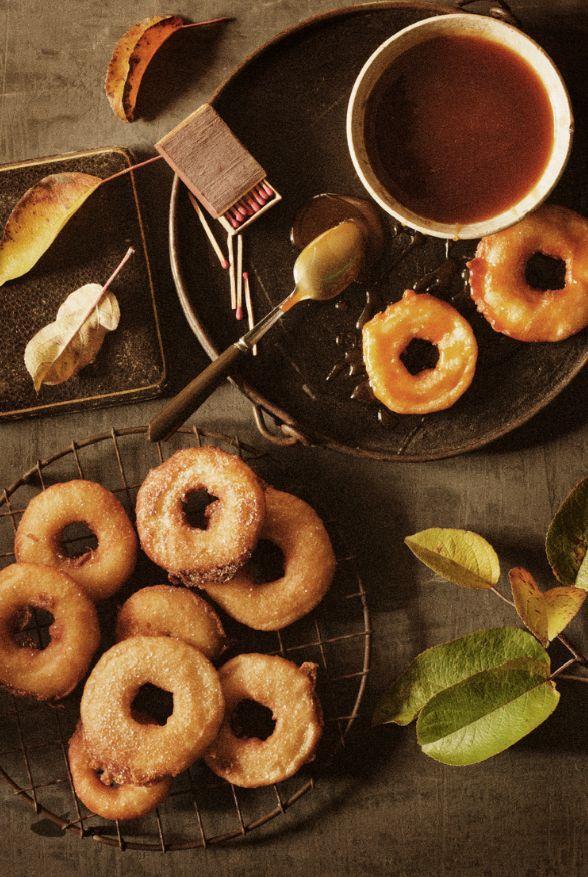 apple beignets with caramel sauce