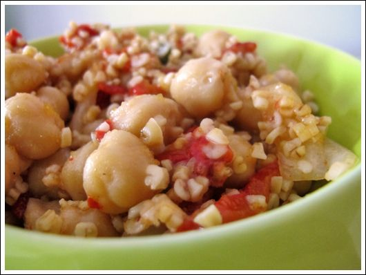 Bulgur and Chickpea Salad with Roasted Red Peppers