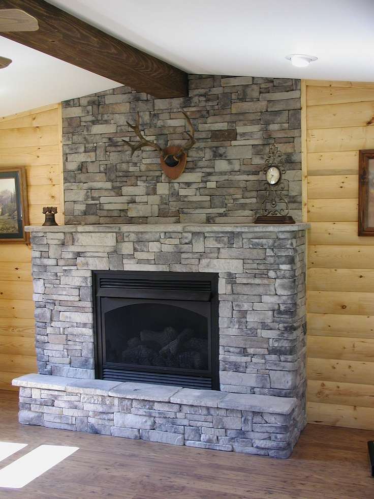 Fireplace surround ideas depth from wall nesting pinterest for Grey stone fireplace surrounds