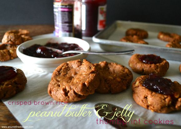 Crisped Brown Rice PB&J Thumbprint Cookies #veganMonster