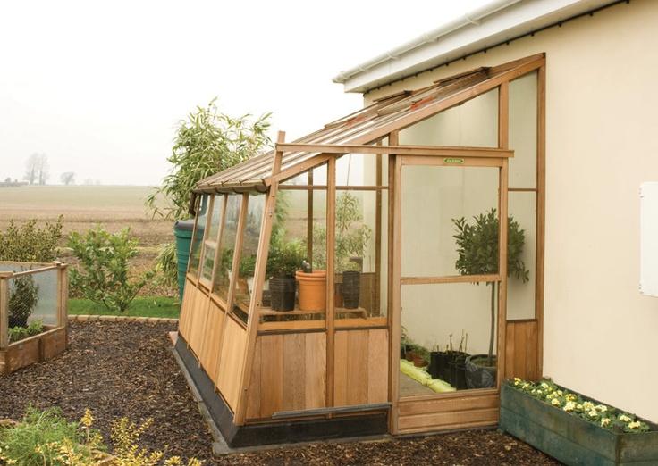 Lean to cedar greenhouse