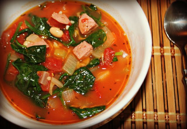 smoked sausage and spinach soup with orzo