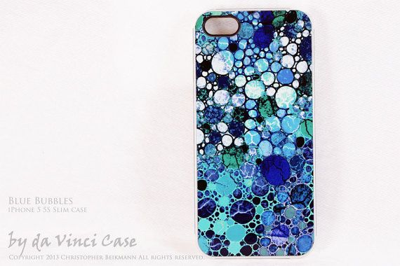 Abstract iPhone 5 5s SLIM Case with Blue and White by DaVinciCase   19    Iphone 5s Blue And White