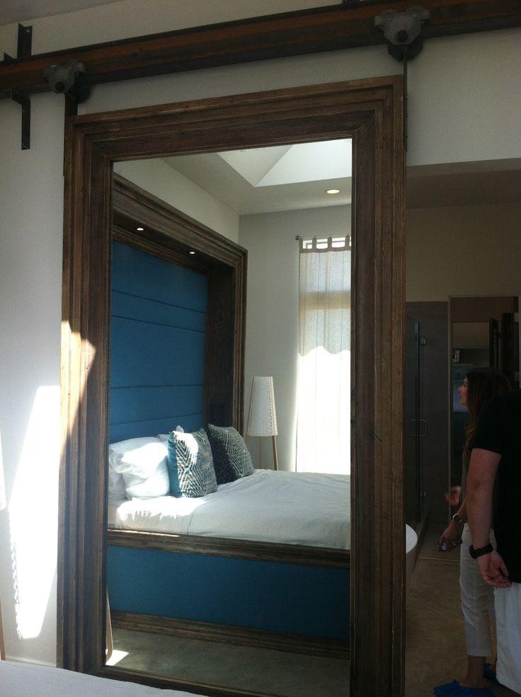 Sliding mirror barn door love this bedroom pinterest for Mirrored barn door