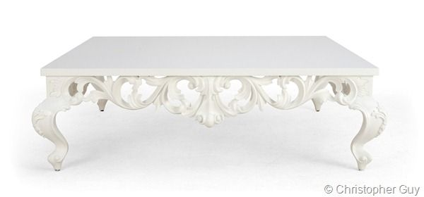 Christopher guy white coffee table in Baroque style.