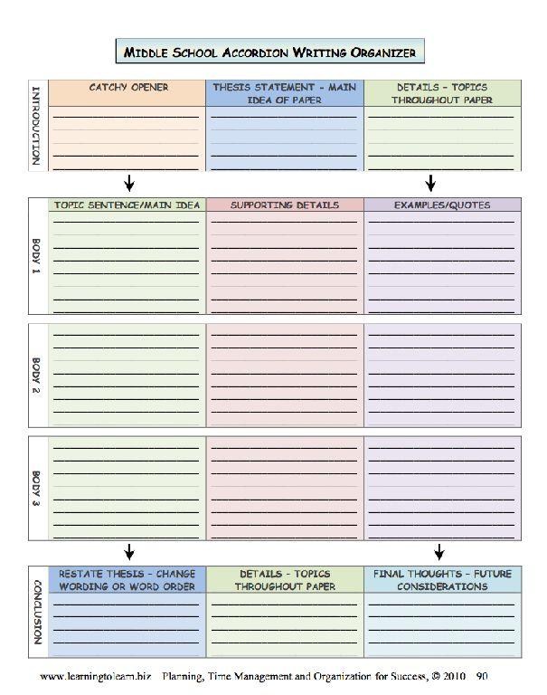 school essay organizer middle school essay organizer
