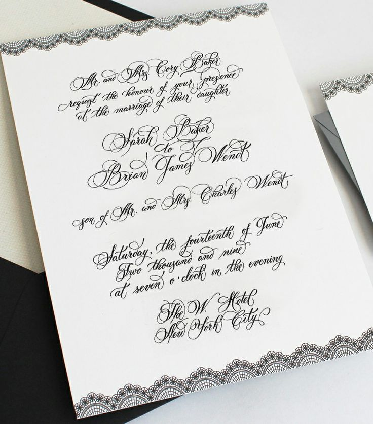 Wedding invitation   Hand Wedding Calligraphy   Pinterest