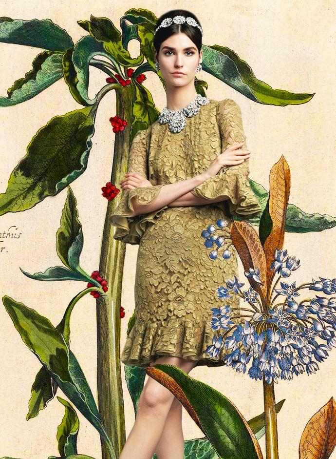 Посмотрите Дня Dolce & Gabbana весна-лето 2014 женская Gold Lace Раффлед платье -