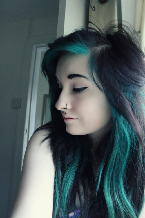 Awesome Turquoise Highlights Hair Pinterest