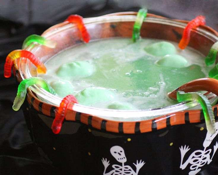 Spooky Swamp Juice~ Great Halloween party punch! Love the gummy worms ...
