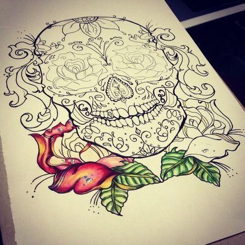Sketch For Sugar Skull Tattoos Pinterest
